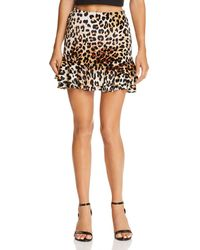 Aqua - Leopard Print Velvet Skirt - Lyst