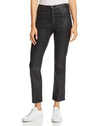 AG Jeans - Isabelle Coated Straight Jeans In Leatherette Black - Lyst
