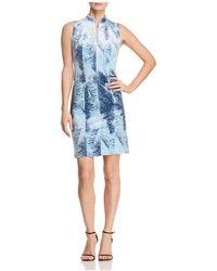 T Tahari - Aberdeena Feather-print Velvet Sheath Dress - Lyst