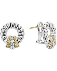 Lagos - 18k Gold And Sterling Silver Diamond Lux Circle Earrings - Lyst