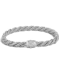 John Hardy - Classic Chain Sterling Silver Extra Small Flat Twisted Chain Bracelet With Diamond Pavé - Lyst