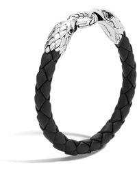 John Hardy - Men's Legends Eagle Silver Double Head Bracelet On Woven Black Leather With Black Onyx - Lyst
