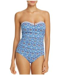 Tommy Bahama - Tika Tiles V-wire Bandeau One Piece Swimsuit - Lyst