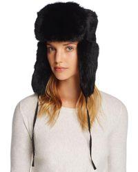 15cb0c6fd3e Lyst - Surell Genuine Rabbit Fur Russian Aviator Hat in Brown