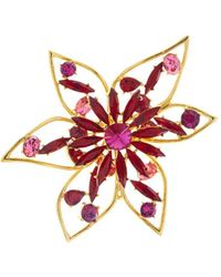 Oscar de la Renta - Crystal Abstract Flower Brooch - Lyst