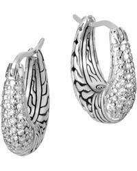 John Hardy - Sterling Silver Classic Chain Pavé Diamond Hoop Earrings - Lyst