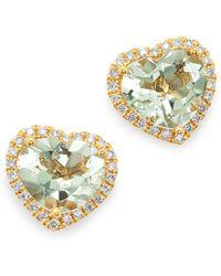 Kiki McDonough - 18k Yellow Gold Grace Green Amethyst & Diamond Heart Earrings - Lyst