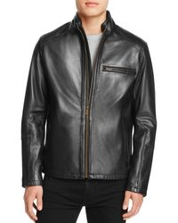 6d22871273 Cole Haan Washed Leather Moto Jacket in Black for Men - Lyst