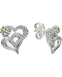 Lagos - 18k Gold And Sterling Silver Beloved Double Heart Stud Earrings - Lyst