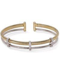 Nadri - Omega Two - Tone Open Cuff Bracelet - Lyst