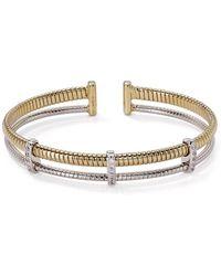Nadri - Omega Two-tone Open Cuff Bracelet - Lyst