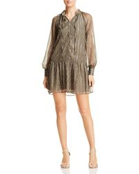 Scotch & Soda - Metallic Print Flutter Dress - Lyst