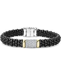 Lagos - Black Caviar Ceramic Bracelet With Pavé Diamonds And 18k Gold - Lyst