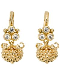 Temple St. Clair | 18k Yellow Gold Mini Pod Drop Earrings With Diamonds | Lyst