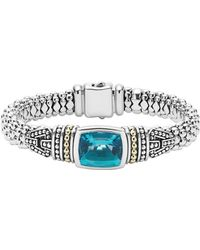 Lagos - 18k Gold And Sterling Silver Caviar Colour Bezel Bracelet With London Blue Topaz - Lyst