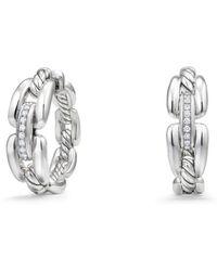 David Yurman - Wellesley Hoop Earrings With Diamonds - Lyst