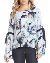Karen Kane - Tie Bell Sleeve Floral Top - Lyst