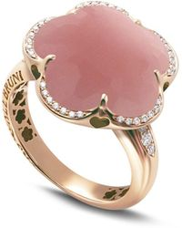 Pasquale Bruni - 18k Rose Gold Bon Ton Floral Dark Pink Chalcedony & Diamond Ring - Lyst