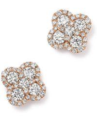 Bloomingdale's - Diamond Clover Stud Earrings In 14k Rose Gold, 1.0 Ct. T.w. - Lyst