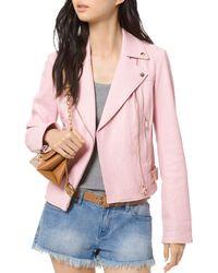 MICHAEL Michael Kors - Crinkled - Texture Leather Moto Jacket - Lyst