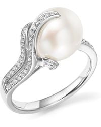 Tara Pearls - 14k White Gold South Sea Cultured Pearl And Diamond Ring - Lyst
