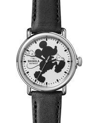Shinola - X Disney Runwell Mickey Classic Leather Strap Watch - Lyst