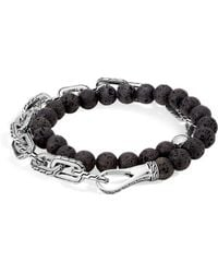 John Hardy - Sterling Silver Classic Chain Wrap Bracelet With Volcanic Rock - Lyst
