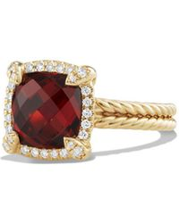 David Yurman | Châtelaine Pave Bezel Ring With Garnet And Diamonds In 18k Gold | Lyst