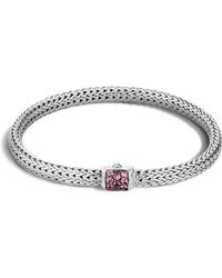 John Hardy - Classic Chain Sterling Silver Lava Extra Small Bracelet With Pink Spinel - Lyst