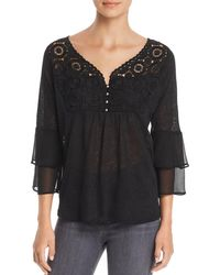 Avec - Mixed Media Tiered-sleeve Top - Lyst