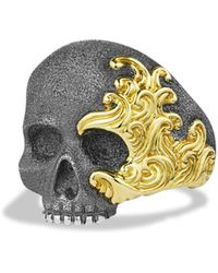 David Yurman | Waves Large Skull Ring With Gold | Lyst