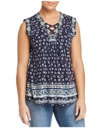 Lucky Brand - Mixed Media Lace-up Top - Lyst