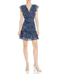 Aqua - Printed Flutter-sleeve Dress - Lyst