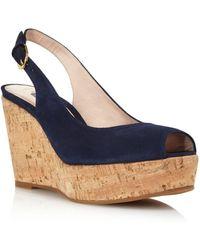69d6cc3546ae Stuart Weitzman - Women s Jean Peep Toe Platform Wedge Sandals - Lyst
