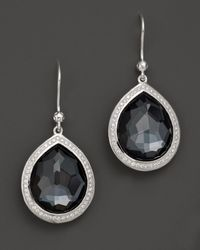 Ippolita - Sterling Silver Stella Earrings In Hematite Doublet With Diamonds - Lyst