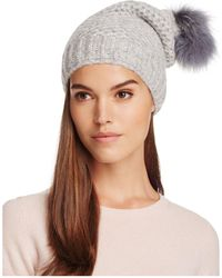 Inverni - Slouchy Beanie With Coyote Fur Pom-pom - Lyst