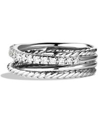 David Yurman - Crossover Ring With Diamonds - Lyst