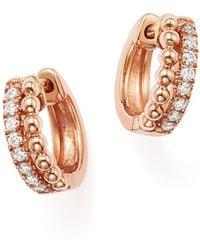 Dana Rebecca - 14k Rose Gold Beaded Diamond Huggie Hoop Earrings - Lyst