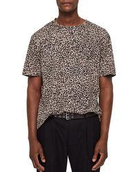 AllSaints - Leopard Print Crewneck Tee - Lyst