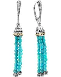 Lagos | 18k Gold And Sterling Silver Caviar Icon Tassel Earrings With Turquoise | Lyst