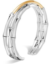 John Hardy | Brushed 18k Yellow Gold And Sterling Silver Bamboo Small Flex Cuff | Lyst