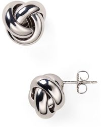 Bloomingdale's - Sterling Silver Love Knot Stud Earrings - Lyst