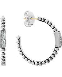 Lagos - Sterling Silver Caviar Spark Diamond Hoop Earrings - Lyst
