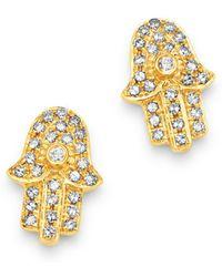 Moon & Meadow - Diamond Hamsa Stud Earrings In 14k Yellow Gold - Lyst