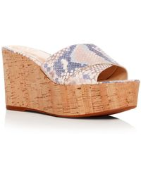 Vince Camuto - Women's Kessina Snake-embossed Leather Platform Wedge Slide Sandals - Lyst