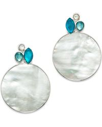Ippolita - Sterling Silver Wonderland Mother-of-pearl & Clear Quartz Doublet Cluster & Round Drop Earrings In Bermuda - Lyst
