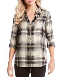 Karen Kane - Plaid Button-down Shirt - Lyst