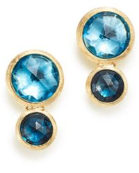 Marco Bicego - 18k Yellow Gold Jaipur Mixed Blue Topaz Climber Stud Earrings - Lyst