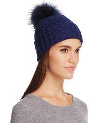 02101486164 Lyst - Inverni Cashmere Lurex Asiatic Raccoon Fur Pom-pom Beanie in Blue