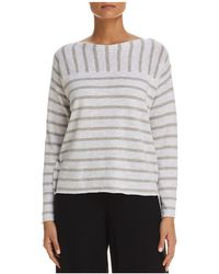 Eileen Fisher - Striped Boat Neck Sweater - Lyst